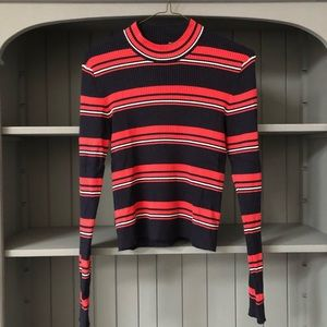 Red, White & Navy Striped Ribbed Mock Neck Top